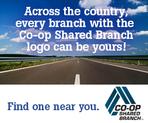 across the country, every branch with the co-op shared branch logo can be yours, sign against an open highway with the blue skye above
