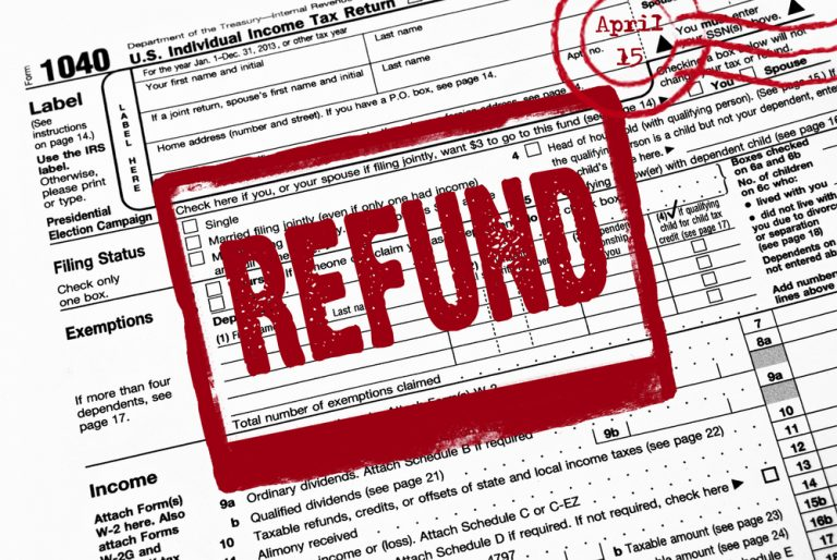 The word REFUND stamped on an IRS form